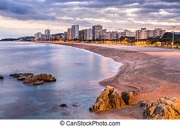 Playa de aro beach landscape, Costa Brava. Spain.
