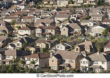 Dense Suburban Housing - Dense large suburban hillside homes...
