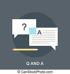 Q and A - Vector illustration of questions and answers flat...