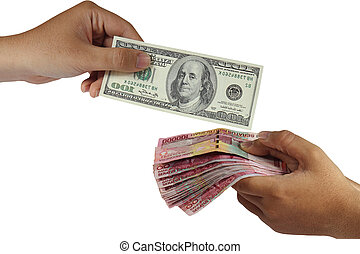 Dollar and Rupiah Money Exchange - Hands doing money...