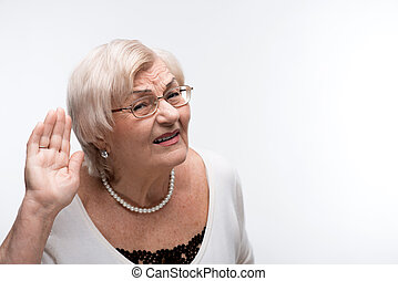 Curious granny trying to hear something - Shameless...
