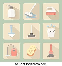 Cleaning icons - Cleaning flat icons with plunger bucket...