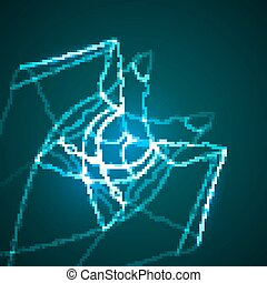 Abstract blue vector illustration, technology background...