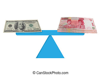 Dollar and Rupiah Money Exchange - Currency value concept...