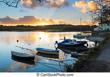 Sunset Truro Cornwall - Sunset on the Truro River at Sunny...