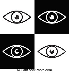 eye icon vector illustration on black and white