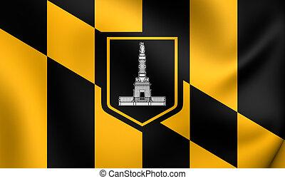 Flag of Baltimore, USA Close Up