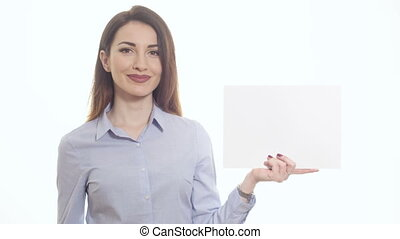woman in blue shirt pointing