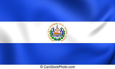 Flag of El Salvador. Close Up.