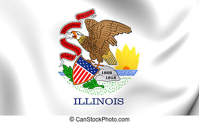 Flag of Illinois, USA Close Up