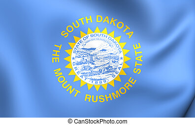 Flag of South Dakota, USA. Close Up.