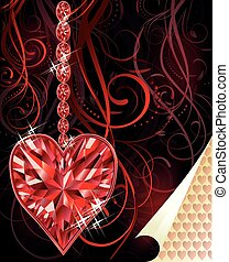 Ruby love heart wedding valentines day, vector illustration