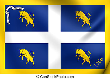 Flag of Turin, Italy Close Up