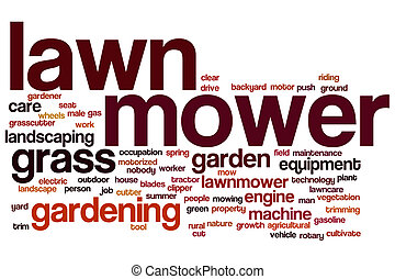 Lawnmower word cloud concept with grass gardening related...