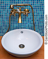 Bathroom exterior - Retro-styled copper faucet with shower...