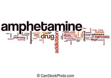 Amphetamine word cloud concept with drug addiction related...