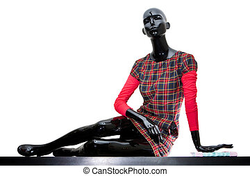 Urban girl - Urban mannequin woman dressed in checkered...