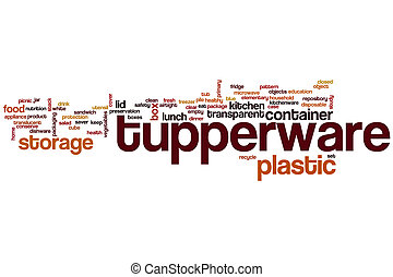 Tupperware word cloud concept with plastic storage related...