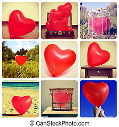 collage of pictures of heart-shaped balloons shot by myself