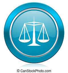 justice blue icon law sign