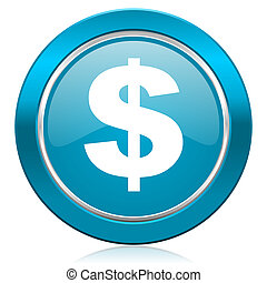 dollar blue icon us dollar sign