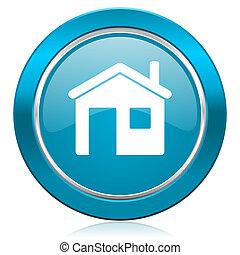 藍色, 房子, 圖象, 家, 簽署