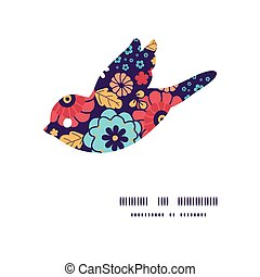 Vector colorful bouquet flowers bird silhouette pattern frame
