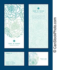 Vector blue line art flowers vertical frame pattern...