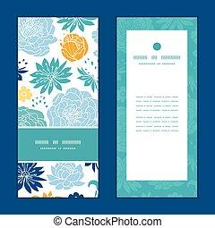 藍色, 集合, 垂直, 圖案, 框架, 問候, 黃色,  flowersilhouettes, 矢量, 邀請, 卡片
