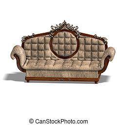cushy sofa of louis XV - 3D rendering of a cushy sofa of...