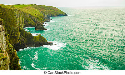 Irish landscape Coastline atlantic ocean coast scenery -...
