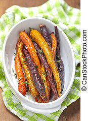 roasted carrots - roasted colorful carrots with olive oil...