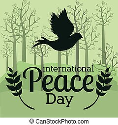 Peace design, vector illustration. - Peace design over green...
