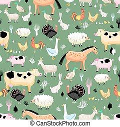 brillante, patrón, de, granja, animales,