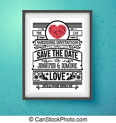 Wedding Invitation Concept Design on Frame - Artistic...