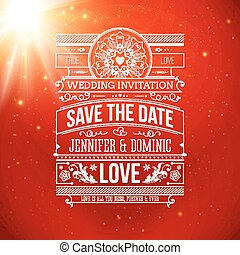 Save the date for personal holiday. Wedding invitation on a clas