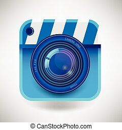 Vector illustration of a single detailed camera icon isolated on