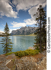 Scenic View Overlooking Lake Minnewanka of Banff NP, Canada...