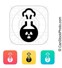 Florence flask with radiation icon Vector illustration -...