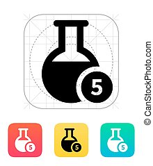 Florence flask with number icon Vector illustration -...