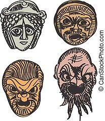 Greek drama masks