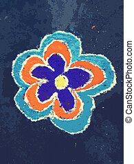 Rangoli which is drawn in front of house by using color powder.