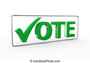 3d green check mark with word vote