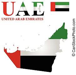 United Arab Emirates - Flag of United Arab Emirates overlaid...