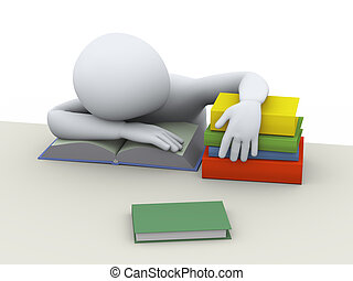 3d tired sleeping student - 3d illustration of tired man...