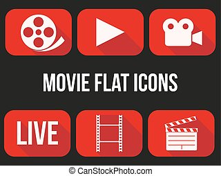 Movie icons set. Button for internet player or app. Vector...