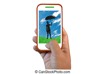Mobile phone touch screen silhouette Pin-up man with...