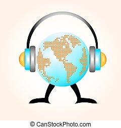 earth with earphones grunge