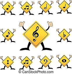 Yellow traffic label with musical note pictogram