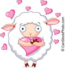 In love sheep - Illustration of very cute sheep holds a...